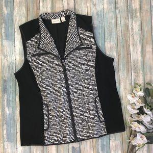 Chico's Black Faux Leather Dot Jacquard Vest Sz 2